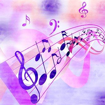 Musical Notes, Music, Digital Paper, Watercolor