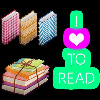 Books, Read, Heart, Neon, Reading, Study, School
