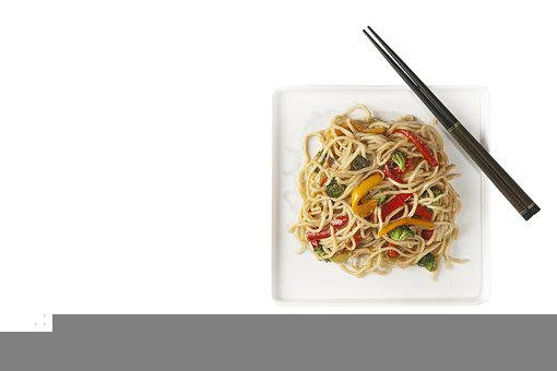 Noodles, Asian Noodles, Chopsticks, Isolated, Flat Lay