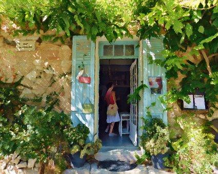 Door, Building, Shop, Plants, Facade, Village, Provence