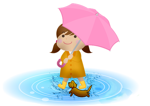 Girl, Dog, Boots, Umbrella, Rain, Puddle, Child, Happy