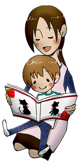 Reading, Boy, Manga, Mother And Son, Anime, Student
