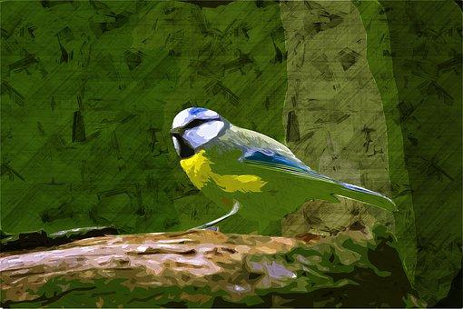 Bird, Beak, Feathers, Plumage, Green, Painting, Art
