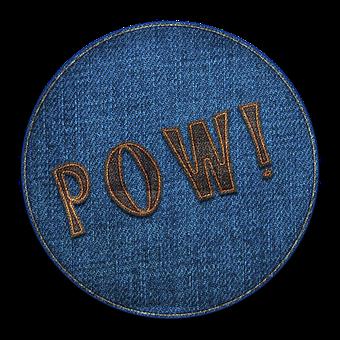 Pow, Circle, Badge, Round, Denim, Fabric, Cut Out