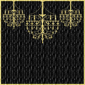 Digital Paper, Glitter, Chandeliers, Gold And Black