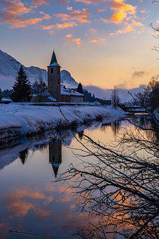 Winter, River, Church, Snow, Town, Reflection, Tower