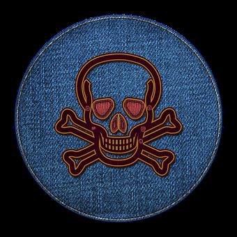Skull, Circle, Badge, Crossbones, Death, Symbol, Denim