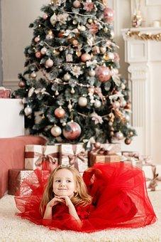 Child, Girl, Christmas, Red Dress, Fashion, Smile
