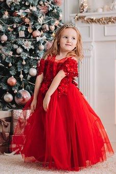 Child, Girl, Christmas, Red Dress, Dress, Fashion