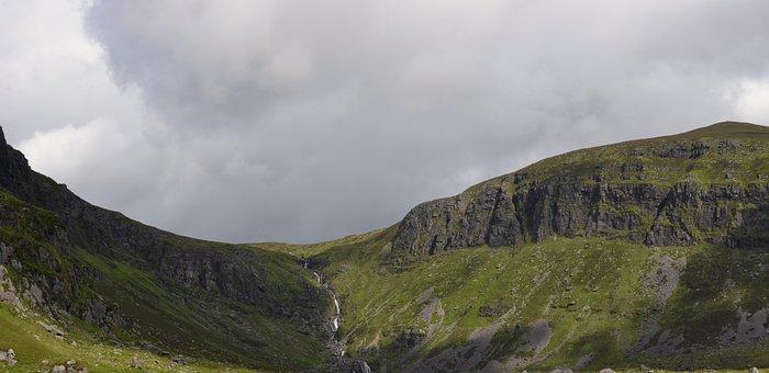 Waterfall, Nature, Mountains, Ireland, Landscape, Hills
