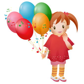 Little Girl, Balloons, Child, Happy, Cute, Childhood