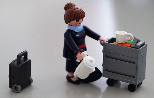 Stewardess, Toy, Miniature, Luggage, Suitcase