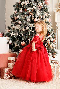 Christmas Tree, Red Dress, New Year's Eve, Beauty