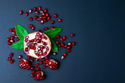 Pomegranate, Seeds, Flat Lay, Fruit, Food, Healthy