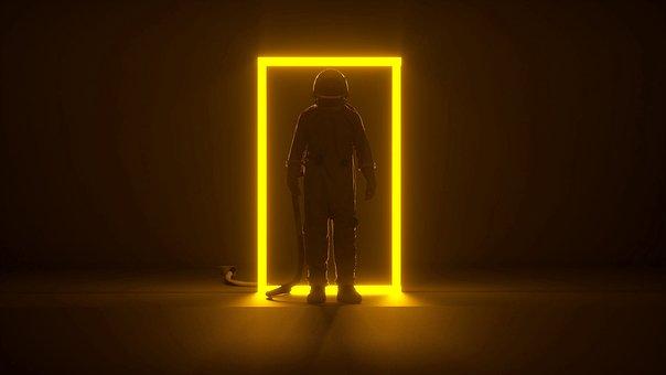 Astronaut, Portal, Light, Spaceman, Spacesuit, Door