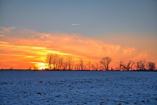 Sunset, Winter Sun, Landscape, Nature, Sun, Sky