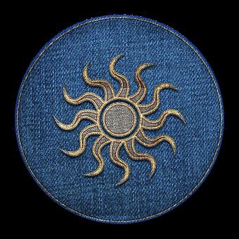 Sun, Circle, Badge, Sun Rays, Symbol, Denim, Fabric