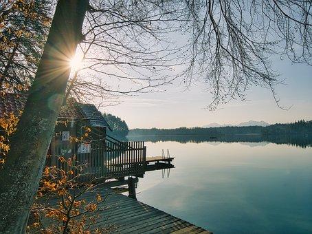 Boathouse, Boardwalk, Lake, Sunlight, Sunrise, Water