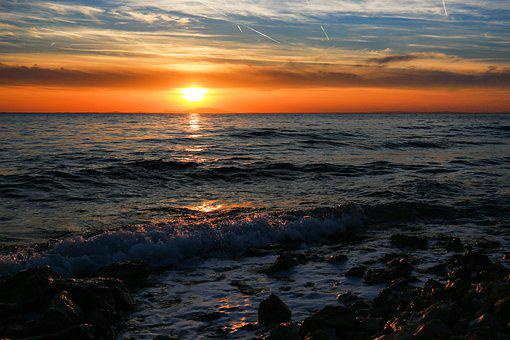 Sunset, Evening Photo, In, Twilight, Summer, Glow