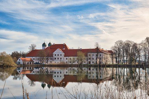 Monastery, Building, Lake, Reflection, Water, Trees