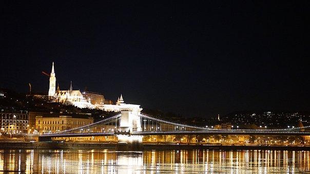 Bridge, River, Lights, Night, Castle, Danube, Budapest