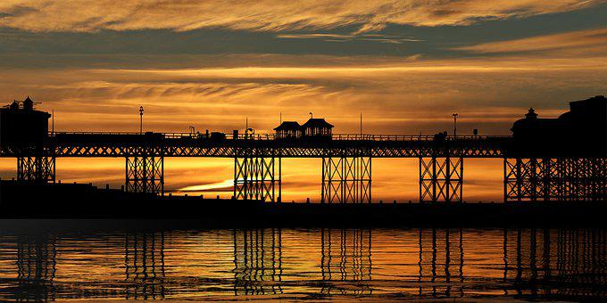 Sunset, Pier, Sea, Silhouette, Bridge, Structure