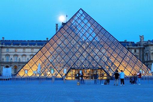 Pyramid, Gallery, Louvre Museum, Building, Paris