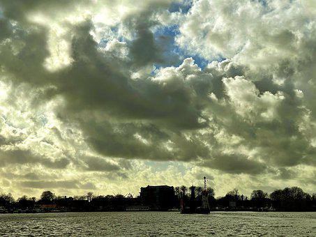 City, River, Clouds, Sky, Boat, Ferry, Travel, Urban