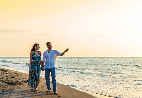 Beach, Couple, Love, Sunset, Sea, Coast, Seashore