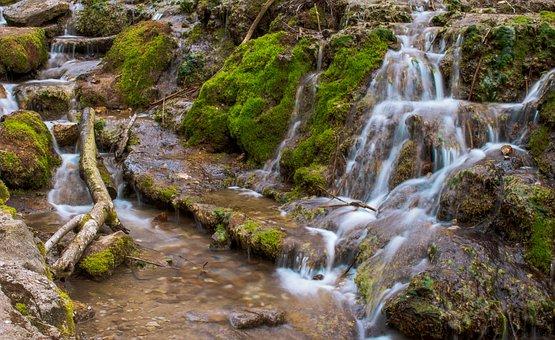 Waterfall, River, Moss, Cascade, Creek, Stream, Bach