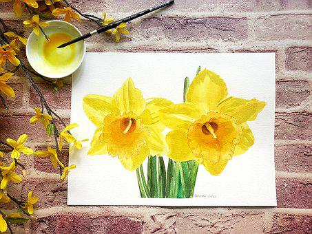 Yellow Flowers, Daffodils, Spring Flowers, Watercolor