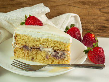 Cake, Strawberry, Food, Slice, Dessert, Pastry, Baked