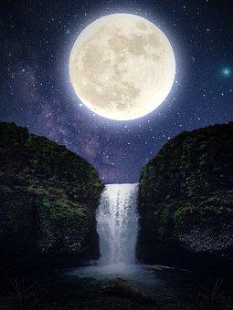 Moon, Waterfall, Mountain, Night, Falls, Stream, River