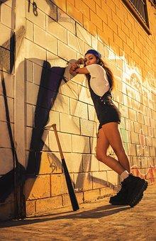 Model, Baseball Bat, Fashion, Wall, Graffiti, Girl