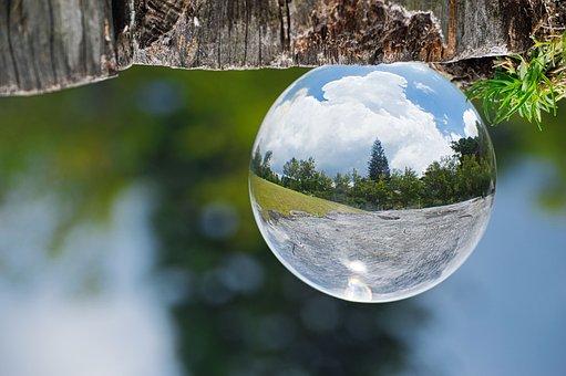 Lensball, Reflection, Nature, Landscape, Sky, Grass