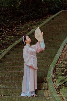 Ao Dai, Fashion, Woman, Hand Fan, Vietnamese