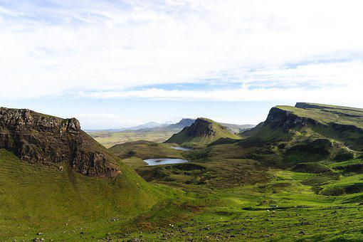 Mountains, Meadow, Landscape, Highlands, Lake, Cliffs