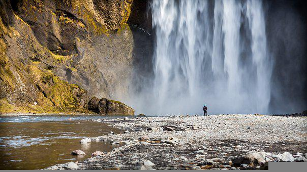Iceland, Waterfall, Skogafoss, Water, Flow, Nature