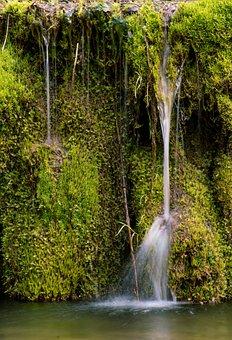 Waterfalls, River, Moss, Cliff, Flow, Flowing Water