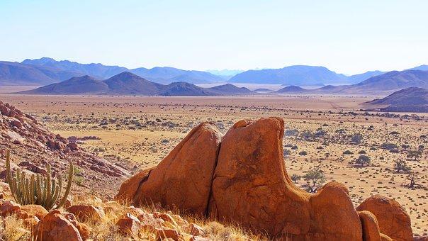 Desert, Mountains, Safari, Field, Rock, Mountain Range