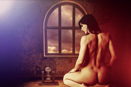 Woman, Naked, Hourglass, Time, Erotic, Seductive