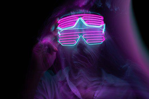 Woman, Neon, Light Painting, Face, Glasses, Beauty