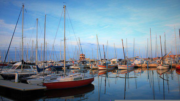 Boats, Port, River, Dock, Water, Reflection, Harbor