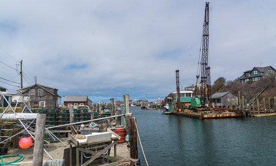 Town, Port, Canal, Waterway, Crane, Harbor, Dock, Urban