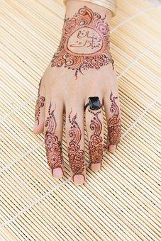 Mehndi, Hand, Bride, Indian, Ring, Henna, Tattoo, Art