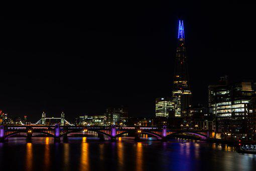 The Shard, River Thames, Buildings, City, City Lights