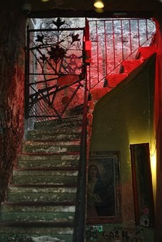 Stairs, Haunted House, Building, Interior, Staircase