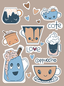 Coffee, Cups, Emoticons, Stickers, Cappuccino, Tea