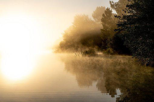 Sunrise, Fog, Lake, Sunlight, Reflection, Water, Trees