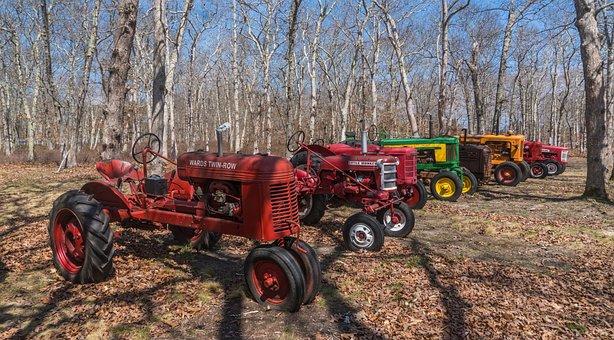 Tractors, Trees, Rural, Vehicles, Antique, Vintage